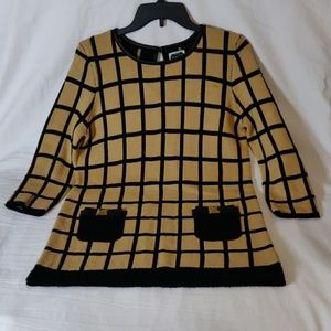 Mud Pie Tan & Black Large Plaid Sweater Dress